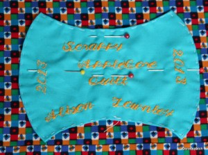 scrappy Apple core quilt label
