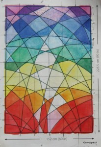 working diagram: stained glass window quilt