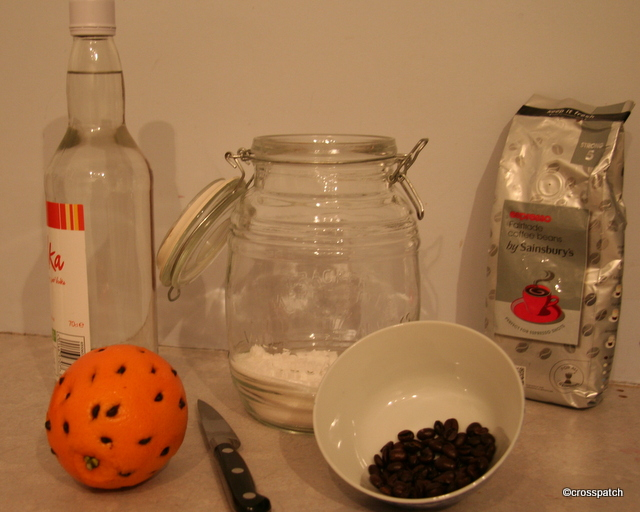 Vodka an Orange and some expresso coffee beans