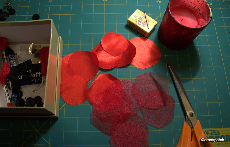 Poppies made from satin and Organza