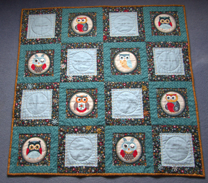 Owl quilt, finished